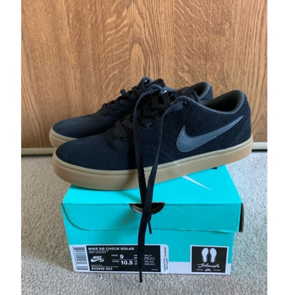 Black Nike SB Check Solarsoft Skate Shoes
